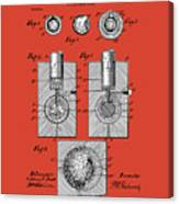 Golf Ball Patent Drawing Red Canvas Print