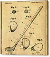 Golf Club Patent 1910 Sepia Canvas Print