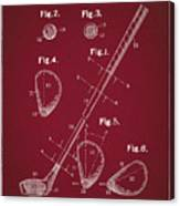 Golf Club Patent Drawing Dark Red Canvas Print