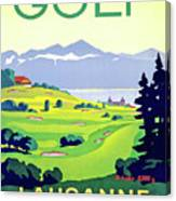 Golf, Lausanne, Switzerland, Travel Poster Canvas Print