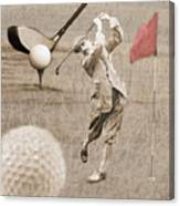 Golf Red Flag Vintage Photo Collage Canvas Print