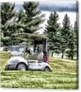 Golfing Before The Rain Golf Cart 03 Canvas Print