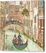 Gondola on Canal in Venice Canvas Print