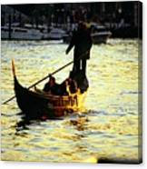 Gondola Ride At Sunset In Venice Canvas Print