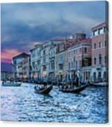 Gondolas At Night Canvas Print