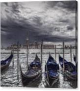 Gondolas In Front Of San Giorgio Island Canvas Print