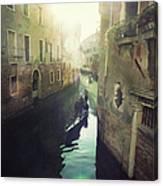 Gondolas In Venice Against Sun Canvas Print