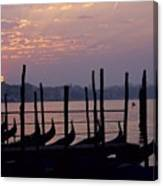 Gondolas In Venice At Sunrise Canvas Print