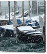 Gondolas In Venice During Snow Storm Canvas Print
