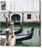 Gondolas On A Canal In Venice, Italy Canvas Print