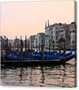 Gondolas On The Grand Canal In Venice In The Morning Canvas Print