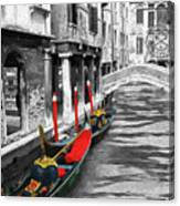 Gondolas On Venice. Black And White Pictures With Colour Detail  Canvas Print