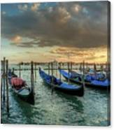 Gondolas Parked For The Evening Canvas Print