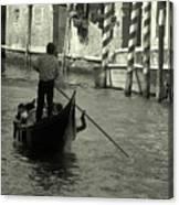 Gondolier In Venice   Canvas Print