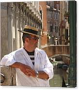 Gondolier In Venice Waiting For A Fare Canvas Print