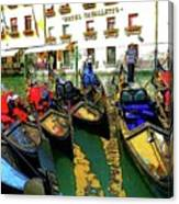 Gondoliers In Venice Canvas Print