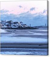 Good Harbor Beach And Thacher Island Covered In Snow Gloucester Ma Canvas Print