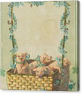 Good Luck Basket With Pigs Canvas Print