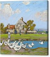 Goose Girl At Sablons Canvas Print