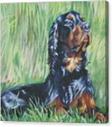 Gordon Setter In The Grass Canvas Print