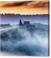 Gorgeous Tuscany Landcape At Sunrise Canvas Print