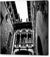 Gothic Bridge In The Gothic Quarter Of Barcelona Canvas Print