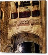 Gothic Bridge At Night In Barcelona 2 Canvas Print