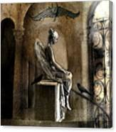 Gothic Surreal Angel With Gargoyles And Ravens  Canvas Print