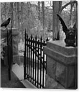 Surreal Gothic Gargoyle With Raven Black And White Gothic Gargoyles Gate Scene Canvas Print