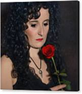 Gothic Woman With Rose Canvas Print