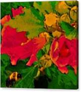 Gouache Painting Flower And Bumble Bee Canvas Print