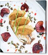 Gourmet Fish Fillet With Chickpea Curry Puree Meal Canvas Print