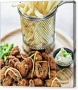 Gourmet Fried Octopus Calamari Style Set Meal With Fries Canvas Print