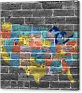 Graffiti  Map Of The United States Of America Canvas Print
