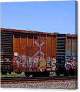 Graffiti Train With Billboard Canvas Print