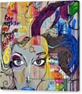 Graffiti Woman Face Canvas Print