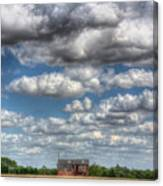 Grain Barn And Barley Field Canvas Print