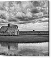 Grain Barn And Sky - Reflection Canvas Print