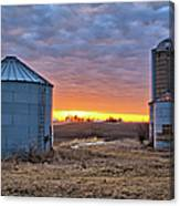 Grain Bin Sunset 2 Canvas Print