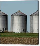 Grain Bins In A Row Canvas Print