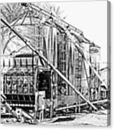 Grain Silos In Black And White Canvas Print