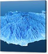Gran Canaria Topographic Map 3d Landscape View Blue Color Canvas Print
