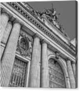 Grand Central Terminal - Chrysler Building Bw Canvas Print