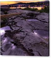 Grand Marais Lighthouse At Sunset Canvas Print