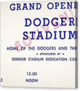 Grand Opening Dodger Stadium Ticket Stub 1962 Canvas Print