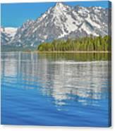 Grand Teton Mountain Reflection On Jackson Lake Canvas Print