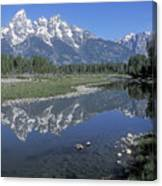 Grand Teton Reflection At Schwabacher Landing Canvas Print