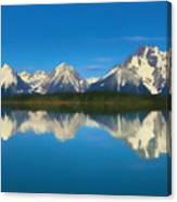 Grand Teton Reflection Wood Texture Canvas Print