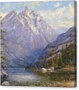 Grand Tetons And Jenny Lake Tryptych Center Canvas Print
