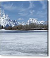 Grand Tetons And Snake River From Oxbow Bend 16-9 Canvas Print
